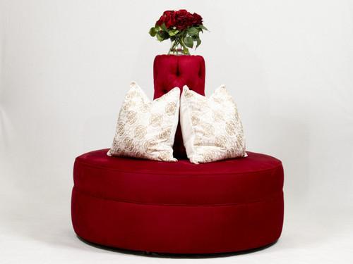 """48"""" Diameter Red Passion Suade Borne Settee Sofa"""