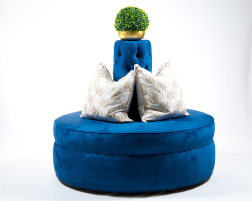 Royal Blue passionsuade tufted cone circle round settee sofa banquette hair salon spa clothing store