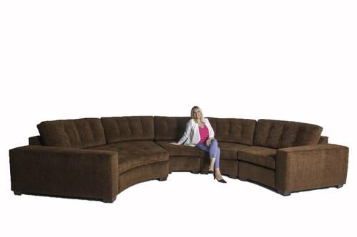 Large four piece circular sectional sofa