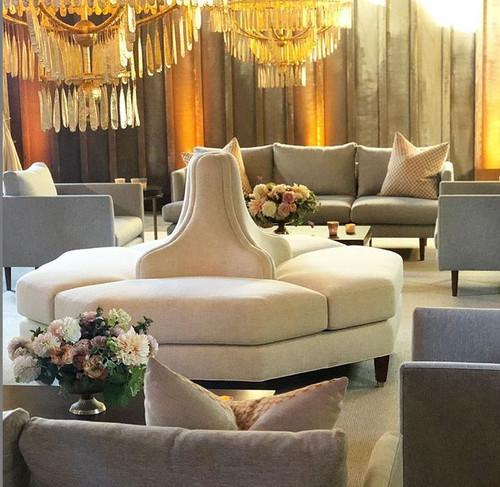 Tete a tete octagon shape settee banquette sofa in linen fabric