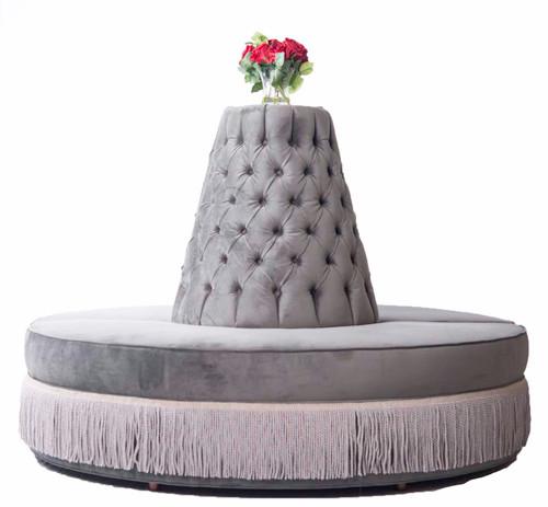 Round Settee velvet with bullion fringe modern luxury Hollywood Regency