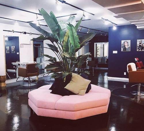 blush pink bench for a hair salon