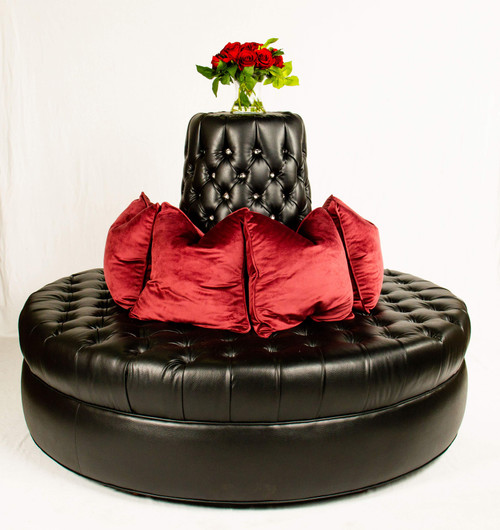 """66"""" Diameter Black Caviar Faux Leather Circle Settee couch bench with Crystal buttons and Diamond Tufting bachelor sexy fifty shades of grey"""