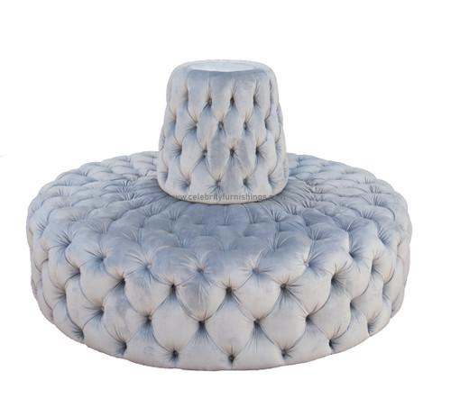 "60"" diameter round petal grey velvet sofa"