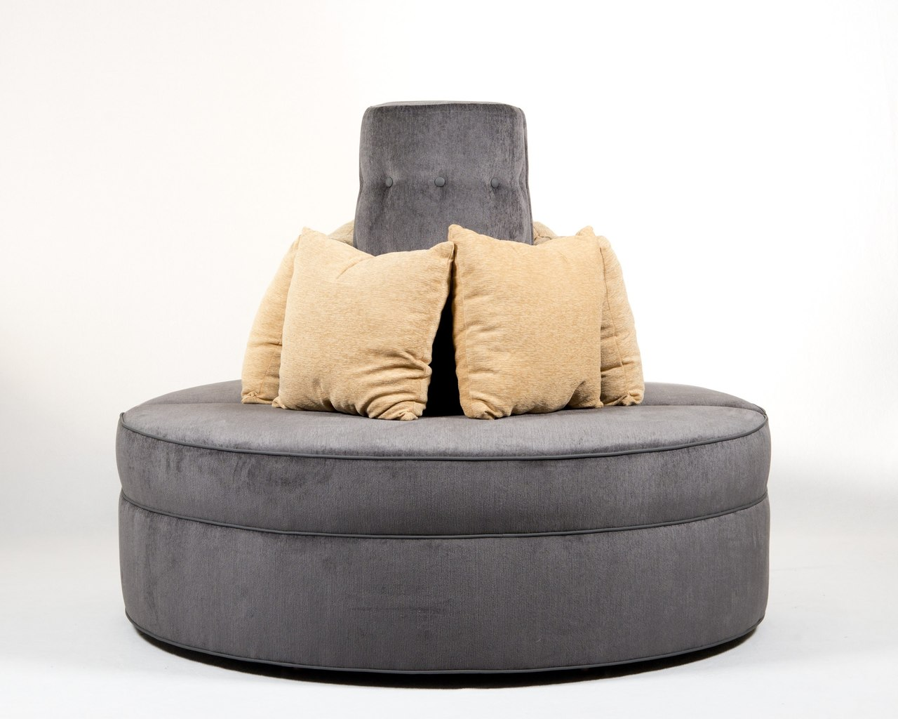 Awe Inspiring Round Banquette Settee Lobby Sofa In Gray Chenille Fabric Ncnpc Chair Design For Home Ncnpcorg