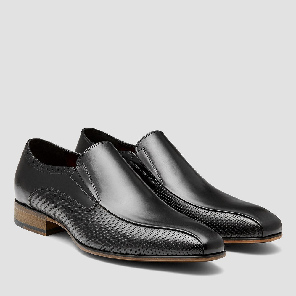Lecce Black Slip On Shoes