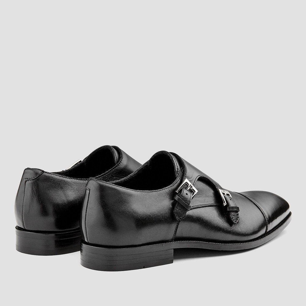 Hartman Black Monk Strap Shoes