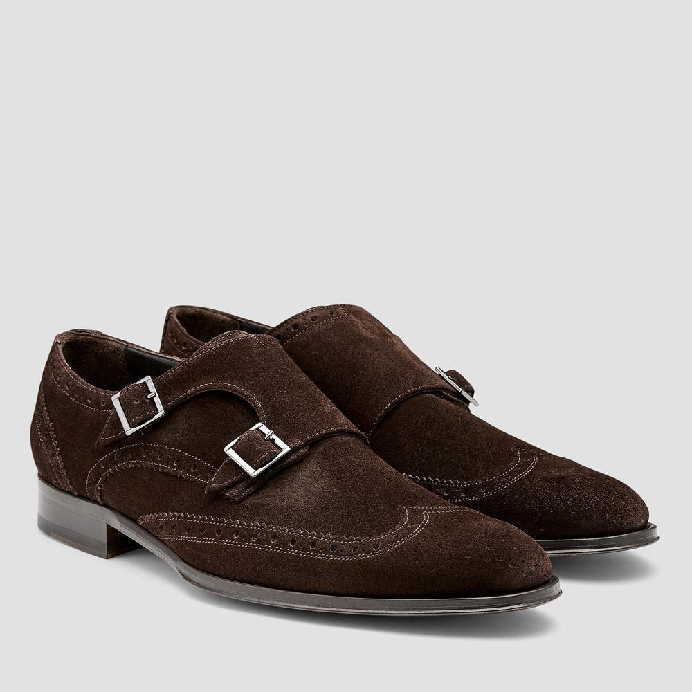 Wilbur Brown Monk Strap Shoes