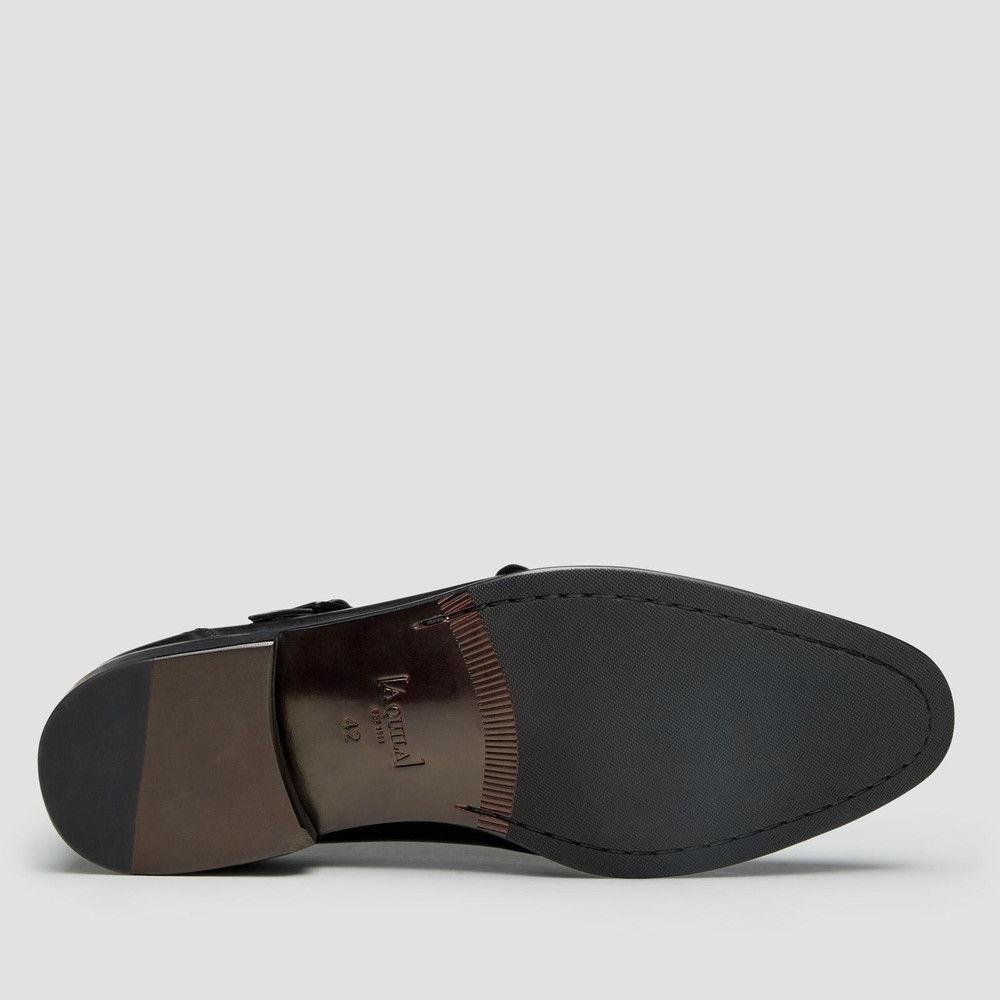 Brent Black Monk Strap Shoes