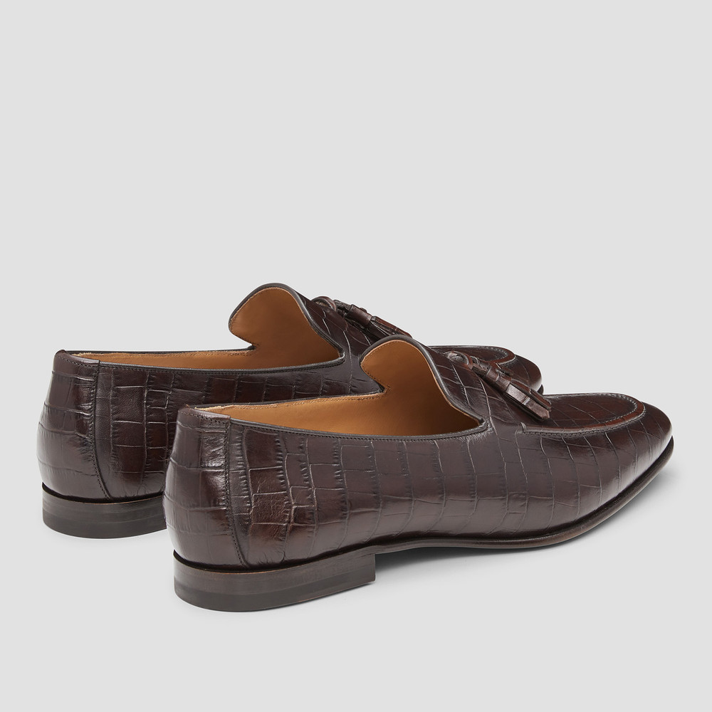 Connery Croc. Brown Loafers