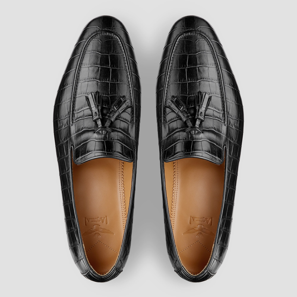 Connery Croc. Black Loafers