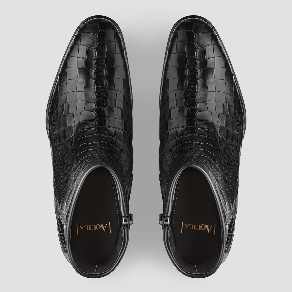 Donadoni Croc. Black Ankle Boots