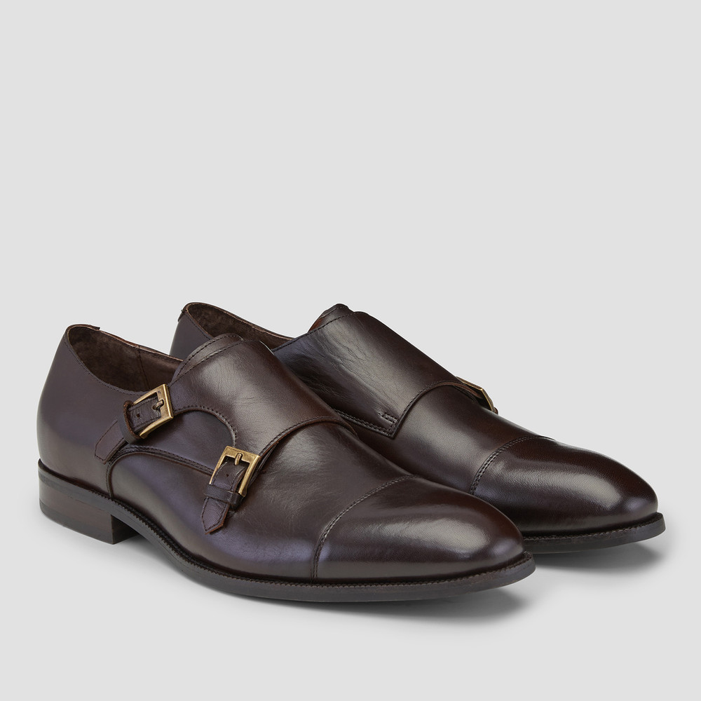 Hartman Brown Monk Strap Shoes