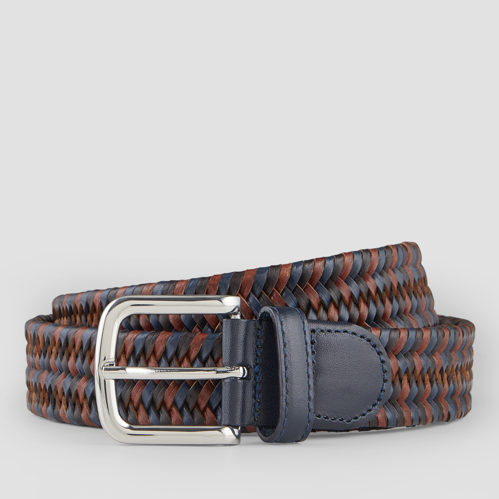 Fields Coffee, Navy, Cognac Belt