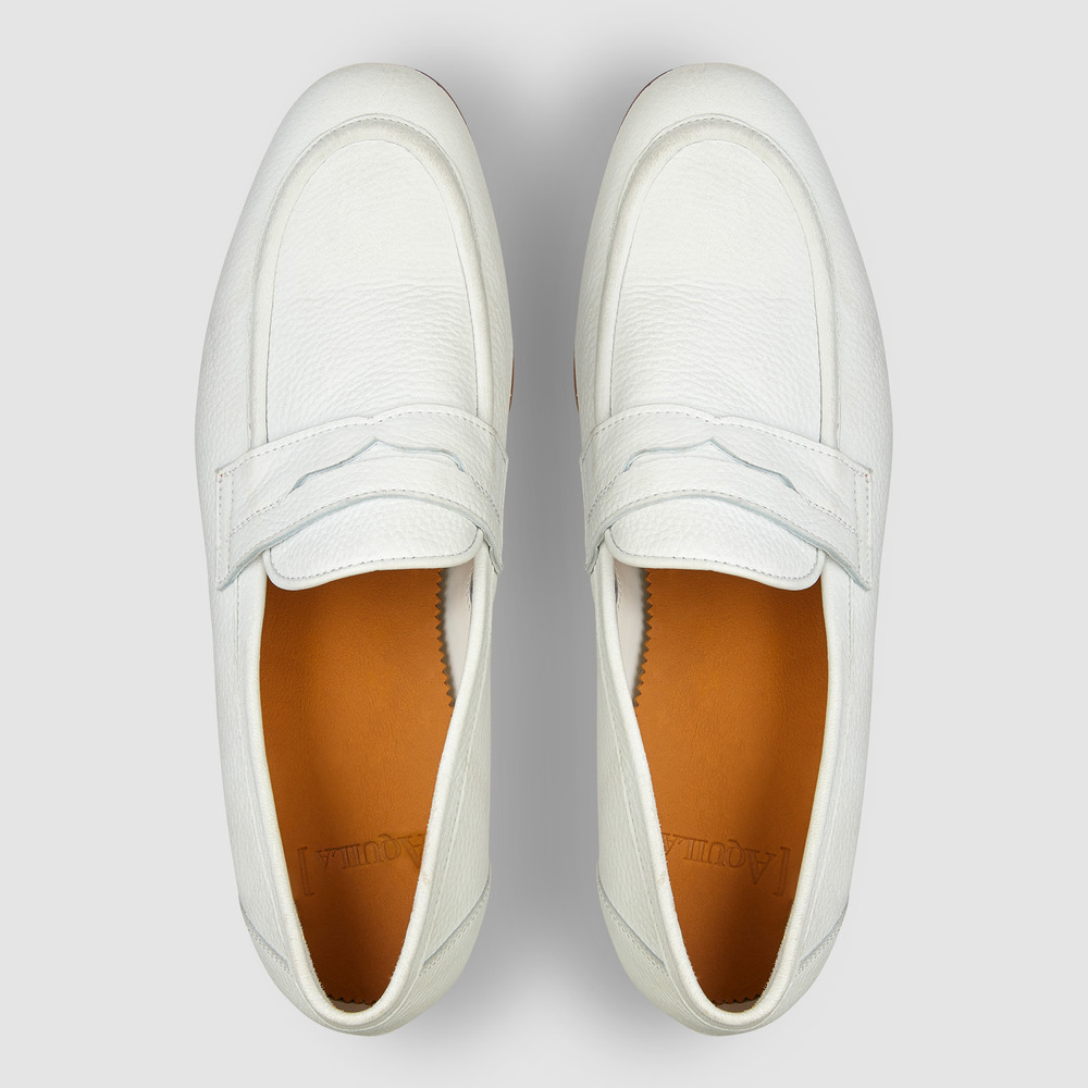 Lucio White Penny Loafers