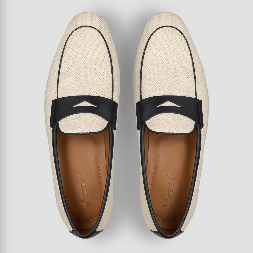 Enrico Navy Penny Loafers