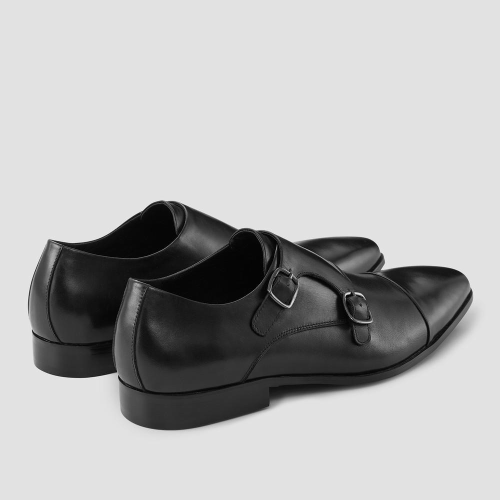 Mellington Black Monk Strap Shoes