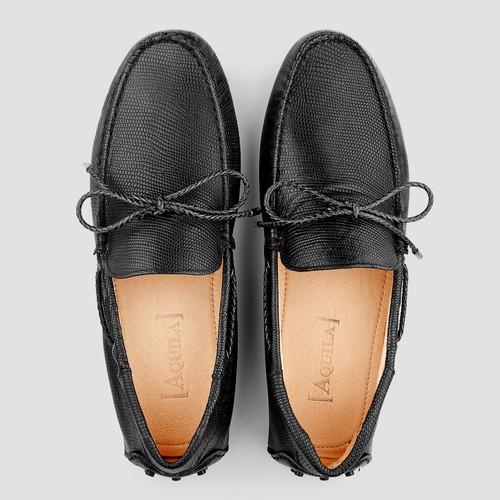 Balfort Lizard Black Driving Shoes