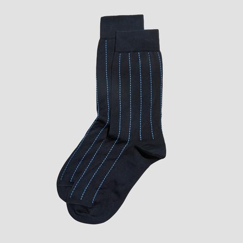 Ethan Navy Pinstripe Socks