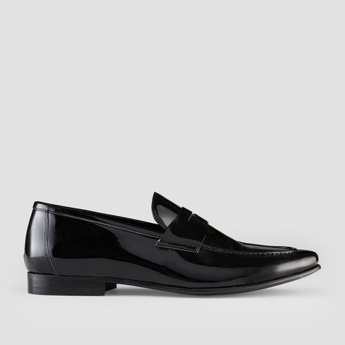 Devan Patent Black Penny Loafers