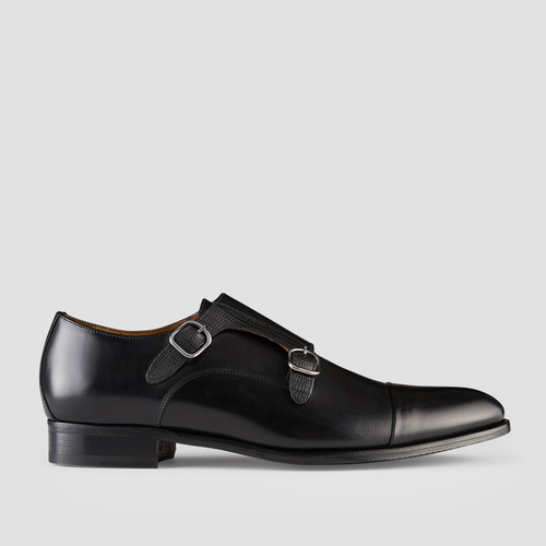 Defoe Black Monk Strap Shoes