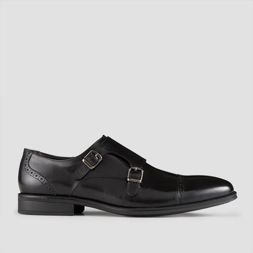 Dwayne Black Monk Strap Shoes