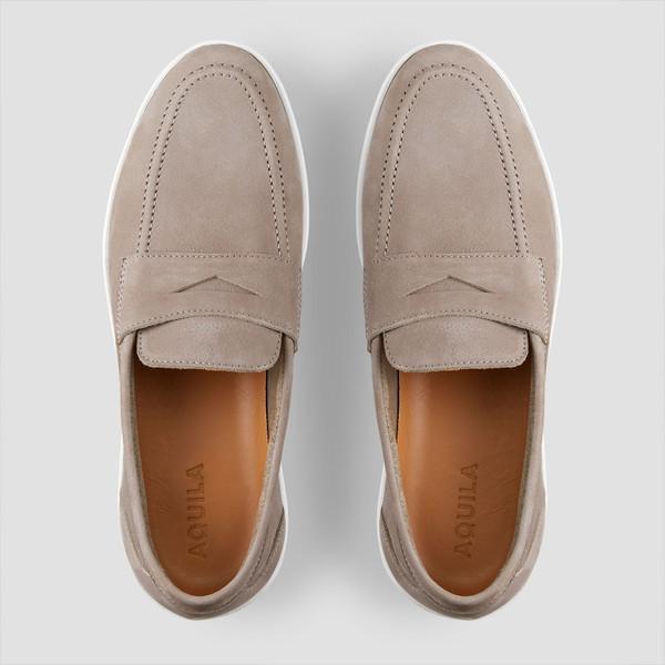 Balmain Taupe Slip On Shoes