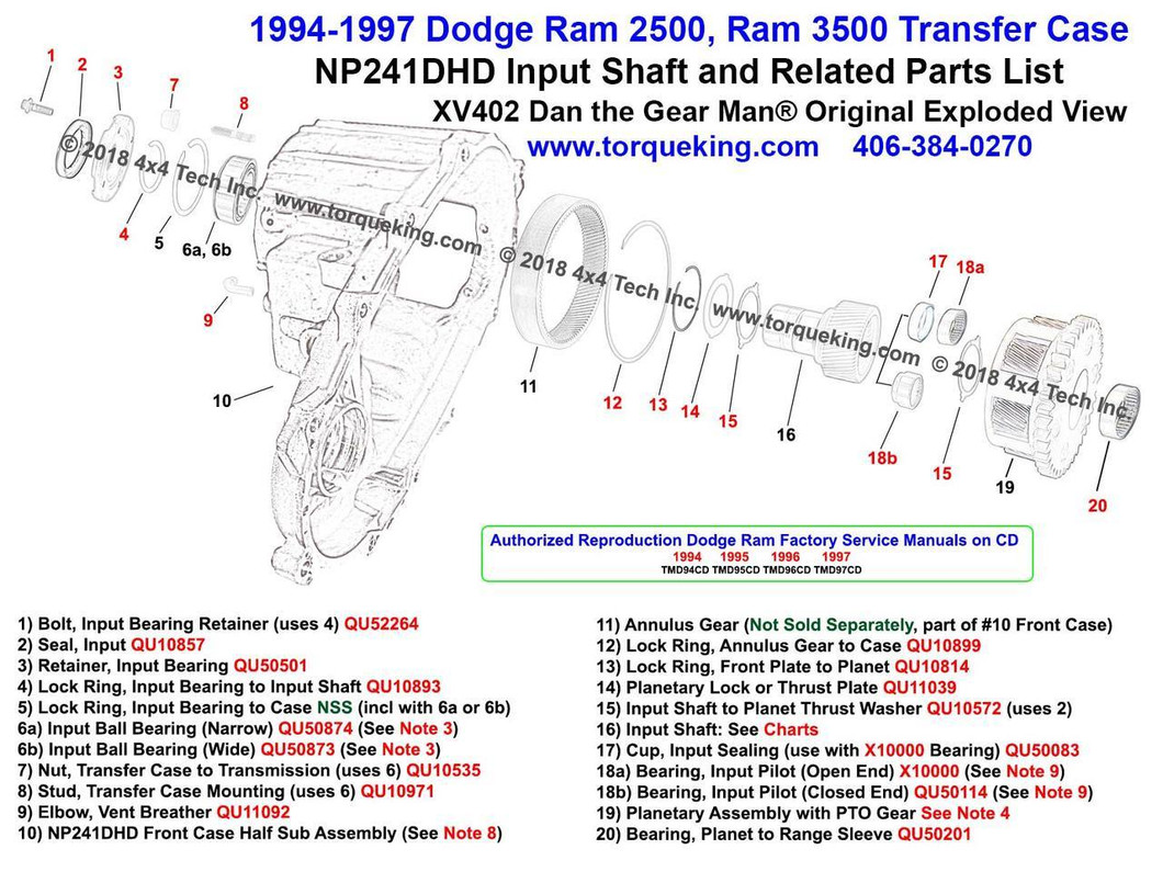 XV402 1994-1997 Dodge Ram NP241DHD Transfer Case Input Shaft & Related Parts