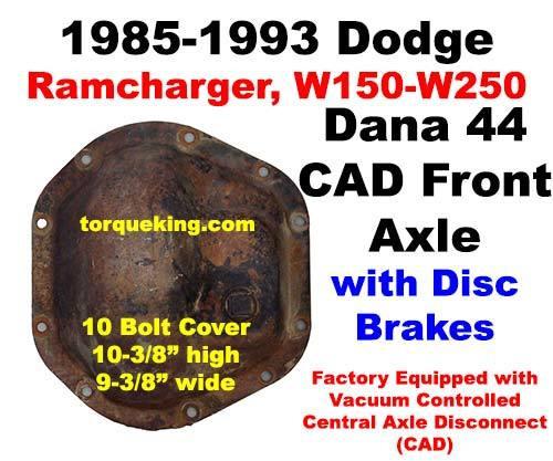 Dana 44 Parts, Tools, Manuals 1985-1993 Dodge CAD Dana 44