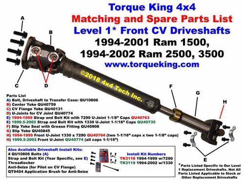 QU40973 1999 5-2002 Ram 2500, 3500 with NV5600 Front CV Driveshaft