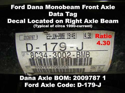 dana axle identification learn  ford dana super  front axle id idn  torque king