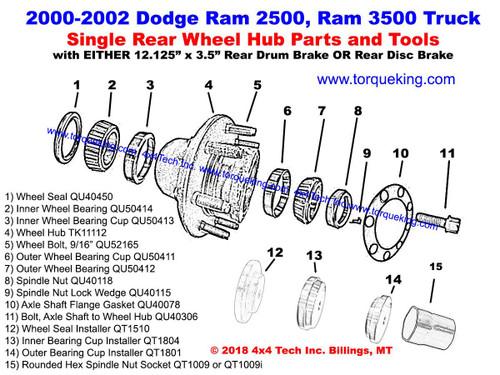 2000, 2001, 2002 Ram 2500, Ram 3500 Dana SRW Rear Hub ... on