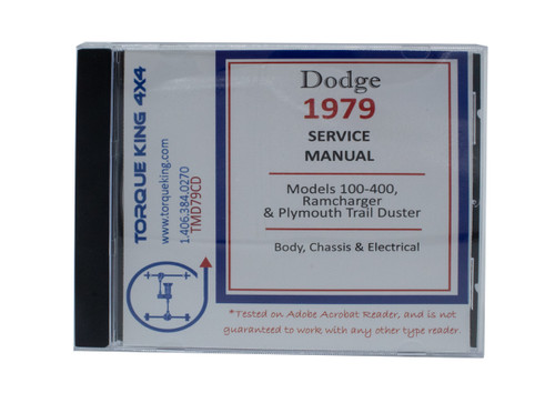 TMD79CD 1979 Dodge Light Truck and Ramcharger Shop Manual on CD on