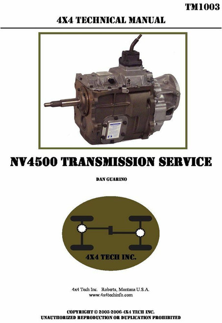 TM1003 Shop Manual For New Venture NV4500 5 Speed Transmissions