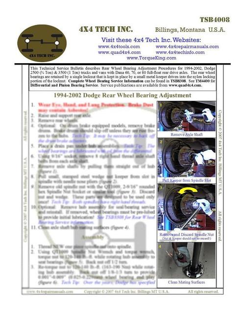 tsb4008 rear wheel bearing adjustment 1994 2002 ram 2500 3500