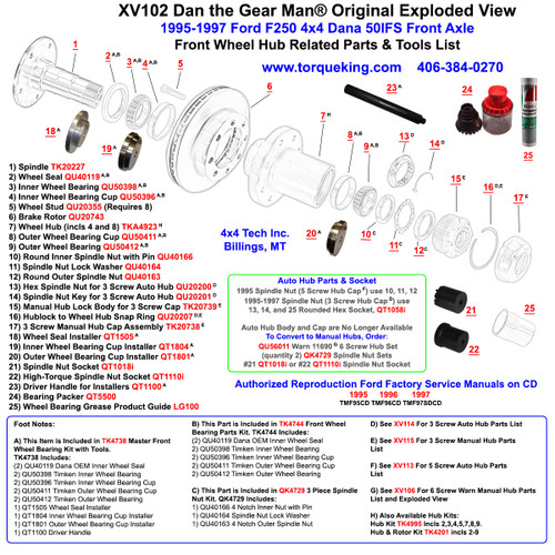 Swell Xv103 1995 1997 Ford F350 Dana 60 4X4 Front Wheel Hub Exploded View Wiring Database Unre4X4Andersnl