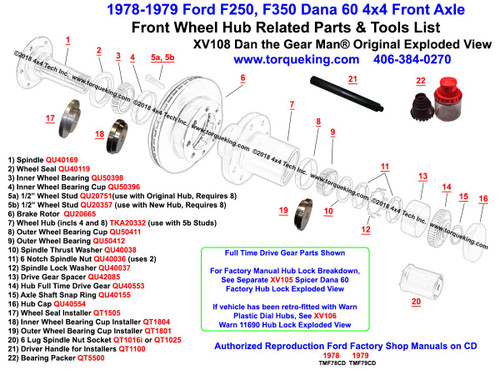 xv108 1978 79 ford f250, f350 dana 60 front wheel hub exploded view 2001 F350 Front Axle Parts Diagram