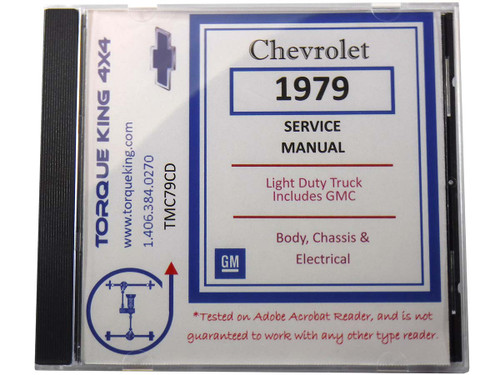 TMC79CD 1979 Chevy and GMC Factory C/K Truck Repair Manual on CD