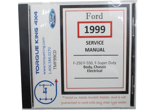 tmf99sdcd 1999 ford complete factory shop manual on cd for f250-f550 super  duty body