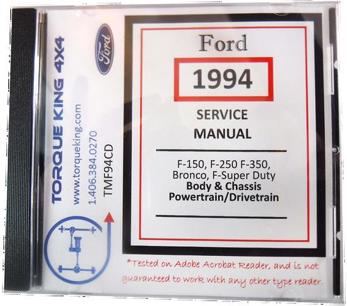 ECONOLINE F-SUPER DUTY 1994  FORD TRUCK SHOP  MANUAL ON CD-BRONCO F-SERIES
