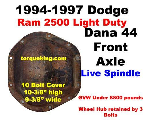 Dana 44 Parts Tools Manuals 1994 1997 Dodge Ram 2500 Front Axle