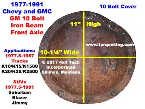 parts, tools, manuals for 1977-1991 gm 10 bolt front axle  torque king 4x4