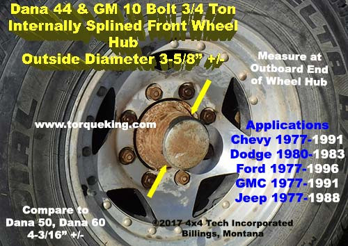 ID the Difference Between a Dana 44 and Dana 50 or 60 Hub IDN-120