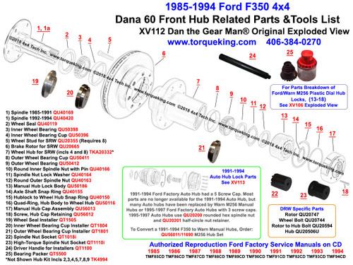 XV112 1985   1994       Ford    F350 Dana 60 Front Wheel Hub Exploded