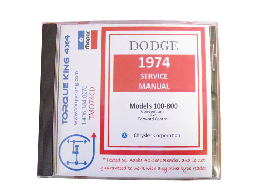 TMD74CD 1974 Dodge Factory Service Manuals on CD on