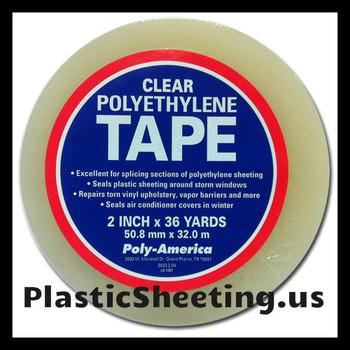 Polyethylene Plastic Sheeting Sealing Tape Clear 2 x 36 YD