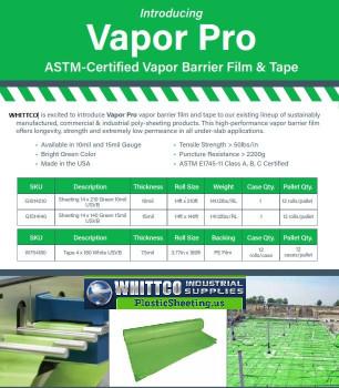 Vapor Pro Vapor Barrier plastic sheeting 15 Mil Green  G1514140