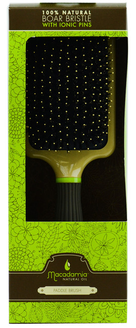 Macadamia Natural Oil Paddle Brush Boar Bristle With Ionic Pins