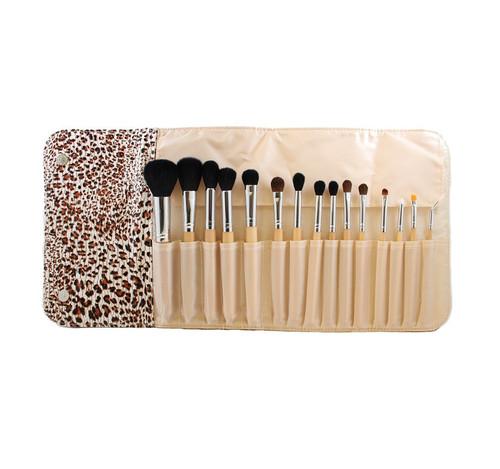 Morphe 15 Piece Wooden Handle Set W / Cheetah Snap Case