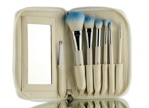 Crown Brush White 7pc HD Set w/ Mirror and Tweezer